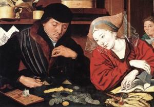Bancher florentin cu sotia, tablou de Marinus van Reymerswaele