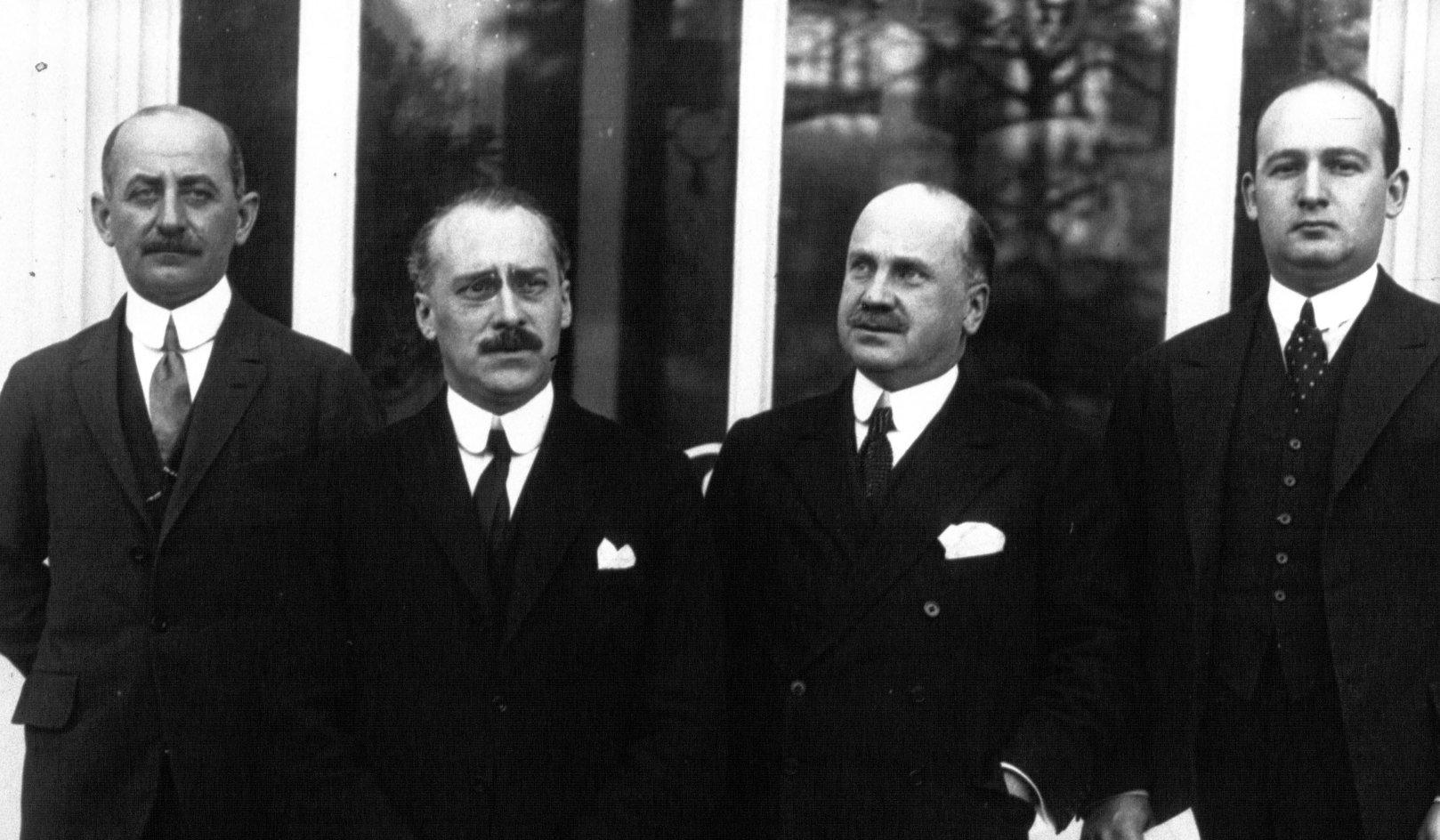 Dimitrescu, G. Duca, Diamandy si Constantinescu la Conferinta de la Lausanne, 1932