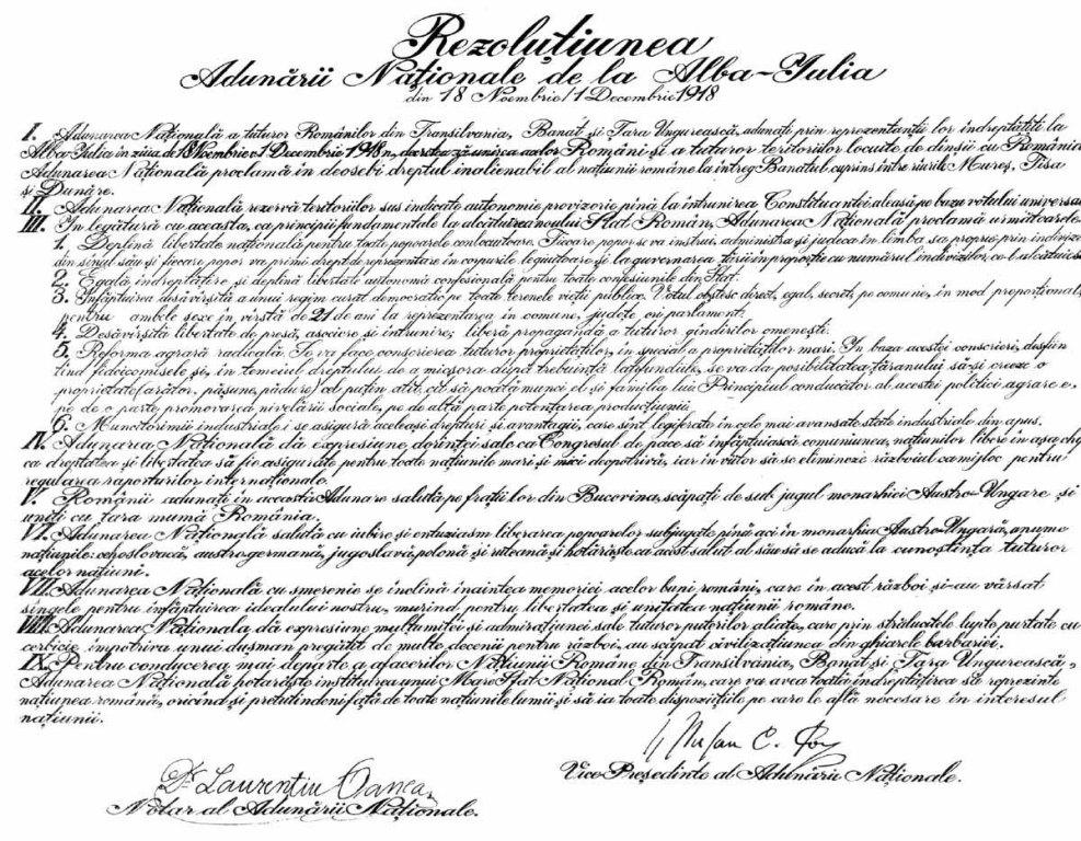 rezolutiunea unirii