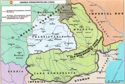 Harta Principatelor Unite ale Moldovei si Valahiei (1859-1861) - sursa: istoria.md