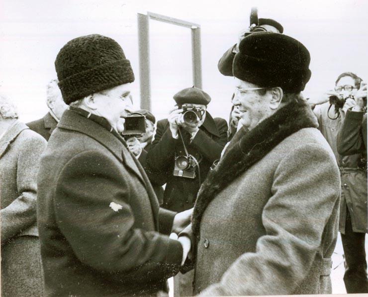 """spect de la întâlnirea lui Nicolae Ceauşescu cu Iosip Broz Tito - sursa: """"Fototeca online a comunismului românesc"""", Cota: 211/1977"""