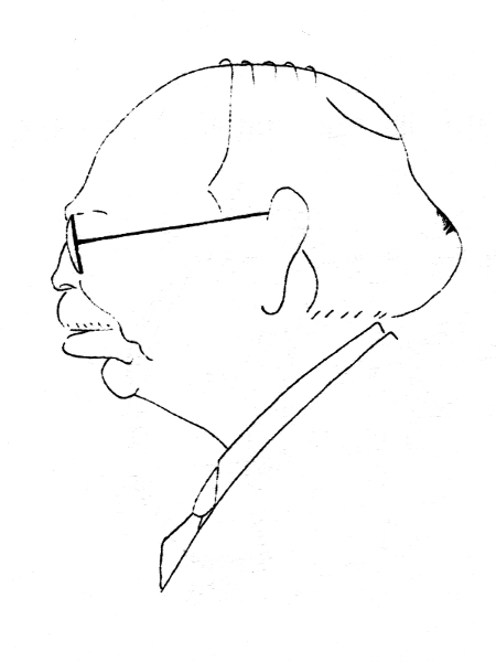 Prof. Eugen Bădărău, desen Gh. Manu