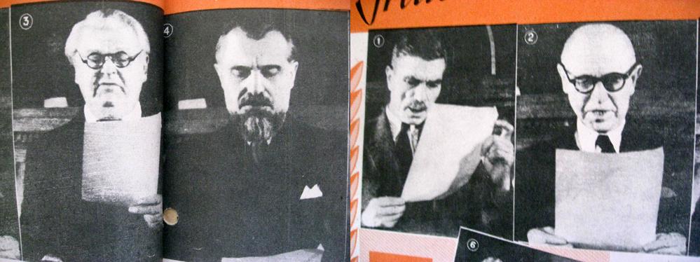 Membrii Prezidiului Provizoriu al Marii Adunări Naṭionale al RPR citind jurământul: I. Niculi, C.I. Parhon, M. Sadoveanu, Şt. Voitec; revista Secolul Radiofoniei, Arhiva scrisă a SRR