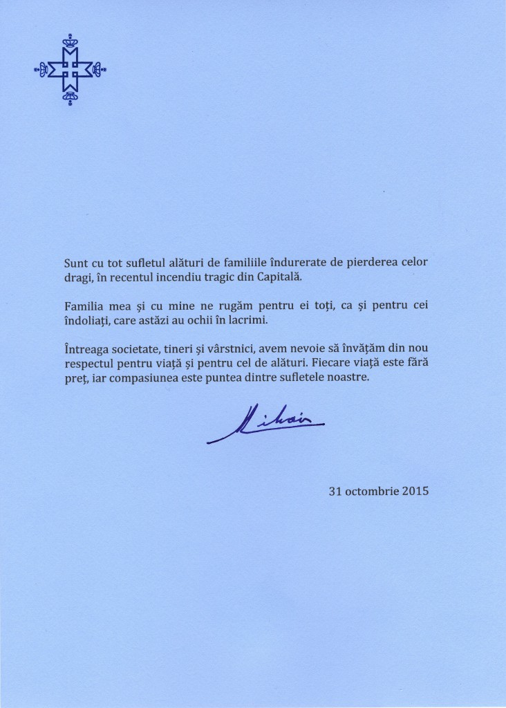 Mesajul Majestatii Sale Regelui, 31 octombrie 2015