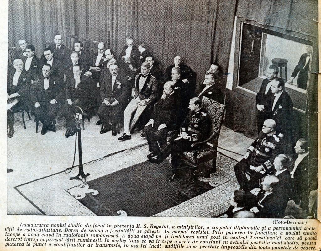 Inaugurarea noului studio de concerte al Radioului construit de arhitectul G. M. Cantacuzino şi ing. Liviu Ciuley, în prezenţa M.S. Regelui, miniştrilor, corpului diplomatic - 11 februarie 1932