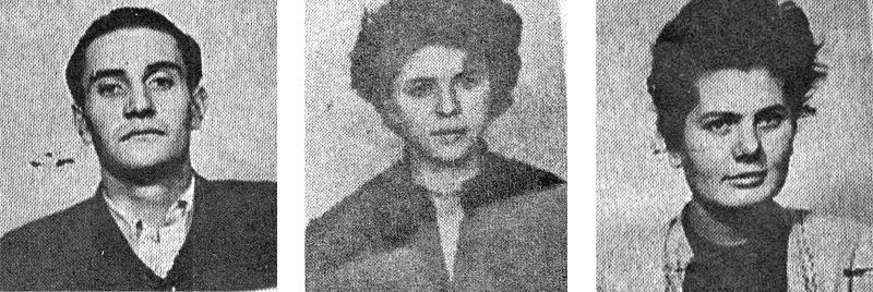 Studenţi condamnaţi la închisoare.  Unul din liderii revoltei din Bucureşti, Alexandru Ivasiuc (stg), student la medicină, condamnat la 5 ani de închisoare; Steliana Pogorilovschi (centru), Studentă la Facultatea de Ziaristică, condamnată la 2 ani; Christa Depner (dr), studentă la Facultatea de Filologie, condamnată la 6 luni închisoare corecţională.
