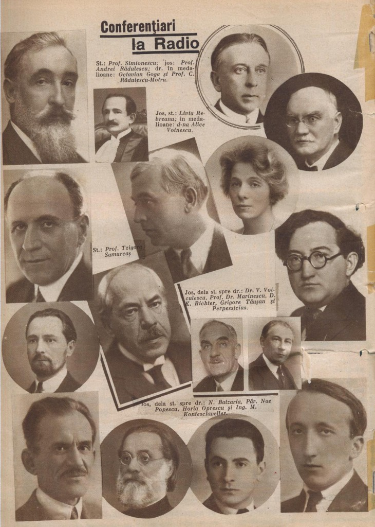 "Conferenţiari la ""Universitatea Radio"", Radiofonia 1937"