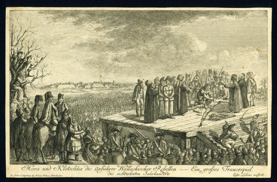 Execuţia  conducătorilor rebelilor Valahi, gravură de Johann Andreas Brinhauser  Sursa: www.europeana.eu