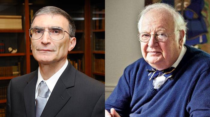 Aziz Sancar (stânga) şi Angus Deaton.