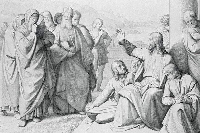 O gravură din 1842 în care Iisus le vorbeşte fariseilor