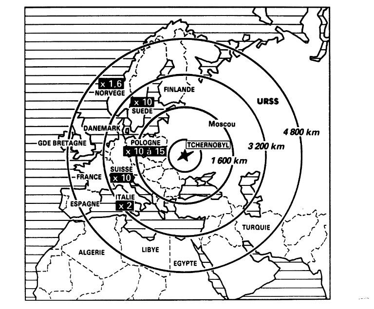Harta zonelor cu risc de contaminare radioactiva, Cernobil 1986 / AFP PHOTO / STF AND
