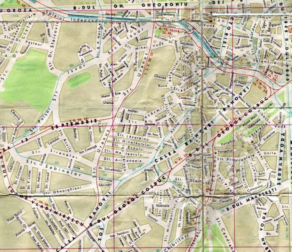 Harta viitorului Centru Civic, inainte de inceperea demolarilor (inceputul anilor 80)