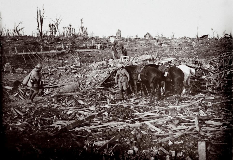 Soldaţi şi cai la Maurepas, pe frontul bătăliei de pe Somme, în nordul Franţei, octombrie 1916 - (Colecţie de fotografii descoperită în 2014, realizate de un soldat necunoscut)