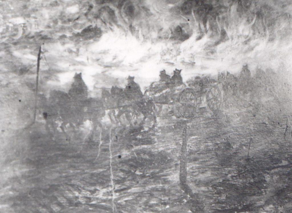 """""""Artilerie la Flămânda"""", 1916, pictor Andrei Sârbu; Depozitul de artă plastică a Muzeului Militar Naṭional"""
