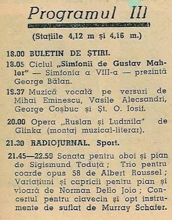 Programul 3 – iunie 1965 – Programul de Radio şi Televiziune