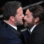 "US actor Casey Affleck (R) is congratulated by his brother US actor and director Ben Affleck after he won the Best Actor award in ""Manchester By The Sea"" at the 89th Oscars on February 26, 2017 in Hollywood, California. / AFP PHOTO / Mark RALSTON"
