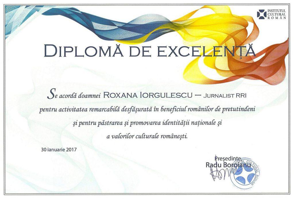 Diploma ICR Comunitati istorice Iorgulescu