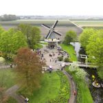 This aerial photo taken from a remotely operated helicopter shows visitors standing around the Chopin mosaic at the Keukenhof in Lisse. Keukenhof is the international showcase of Dutch horticulture with an emphasis on bulb flowers. AFP PHOTO / ANP PAUL RAATS netherlands out  / AFP PHOTO / ANP / Paul Raats