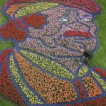 In the 'Keukenhof' flowerpark near Lisse, a self-portrait of Dutch painter Rembrandt van Rijn is depicted by tulips 01 May 2006. The portrait measures ten by fourteen meters and consists of almost 60,000 tulips. The flowers were planted by twenty children.   AFP PHOTO / ANP  KOEN SUYK NETHERLANDS OUT / AFP PHOTO / ANP / KOEN SUYK