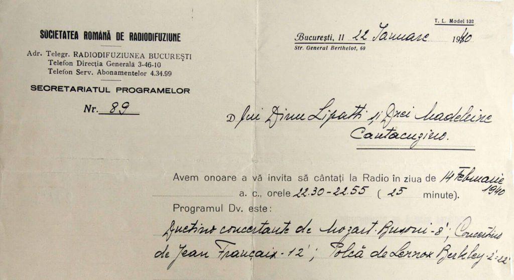 Invitaţie adresată de Radiodifuziune lui Dinu Lipatti - 1940