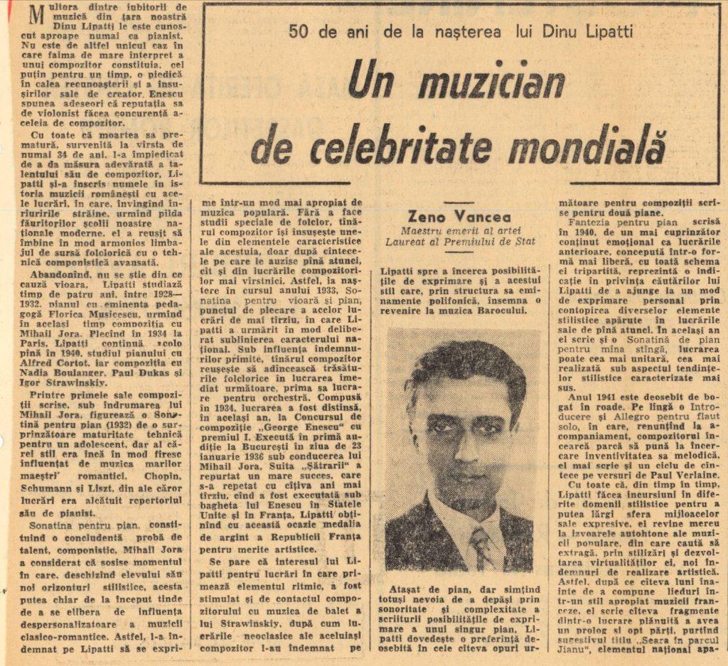Zeno Vancea despre Lipatti la 50 de ani de la naştere – România liberă 19 martie 1967