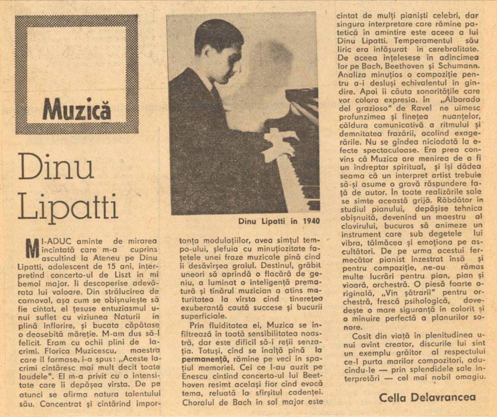 Cella Delavrancea despre Dinu Lipatti – România literară 25 decembrie 1975