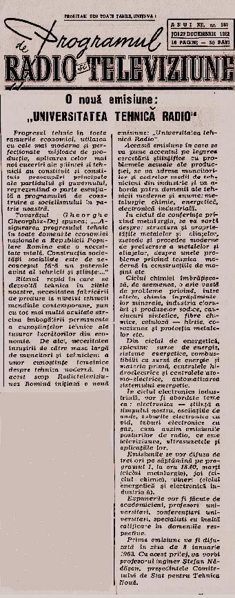 Programul de radio şi televiziune – 27 decembrie 1962