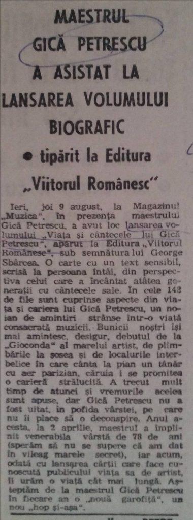 """Ziarul Ora - 10 august 1993 – despre lansarea volumului """"Viaţa şi cântecele lui Gică Petrescu"""""""