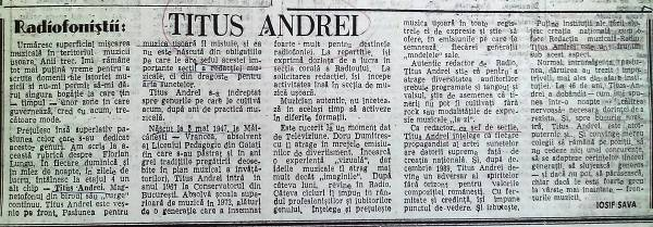 Revista Panoramic TV – 6-12 decembrie 1993, material realizat de muzicologul Iosif Sava