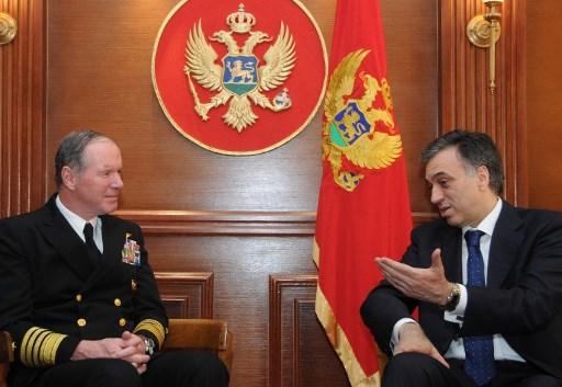 Amiralul NATO, Mark Fitzgerald, discuta cu presedintele muntenegrean Filip Vujanovic la Podgorita. (18 martie 2010) AFP PHOTO / Savo PRELEVIC /