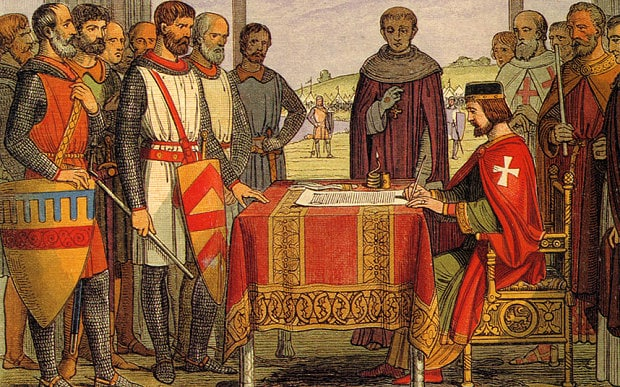 Regele Ioan semneaza Magna Carta la Runnymede in iunie 1215