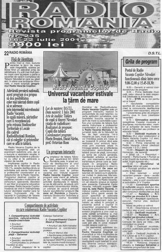 Radio Vacanta copiilor Navodari Revista Radio Romania iulie 1994