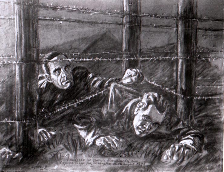 """Fotografie după un desen în cărbune reprezentând evadarea lui Gheorghe Gheorghiu-Dej din lagărul de la Târgu Jiu în 9-10 august 1944 (1944, august 10) sursa – """"Fototeca online a comunismului românesc"""", cota: 2/1944"""