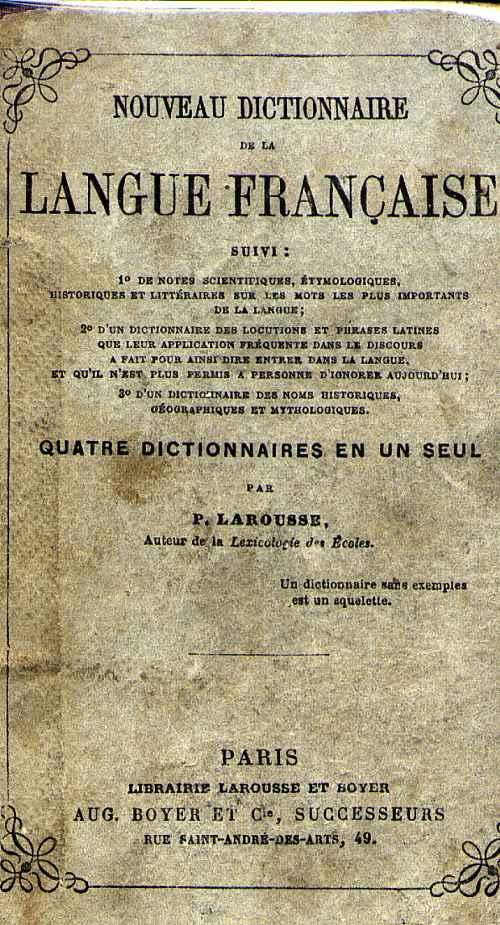 Coperta primului dictionar Larousse (1856)