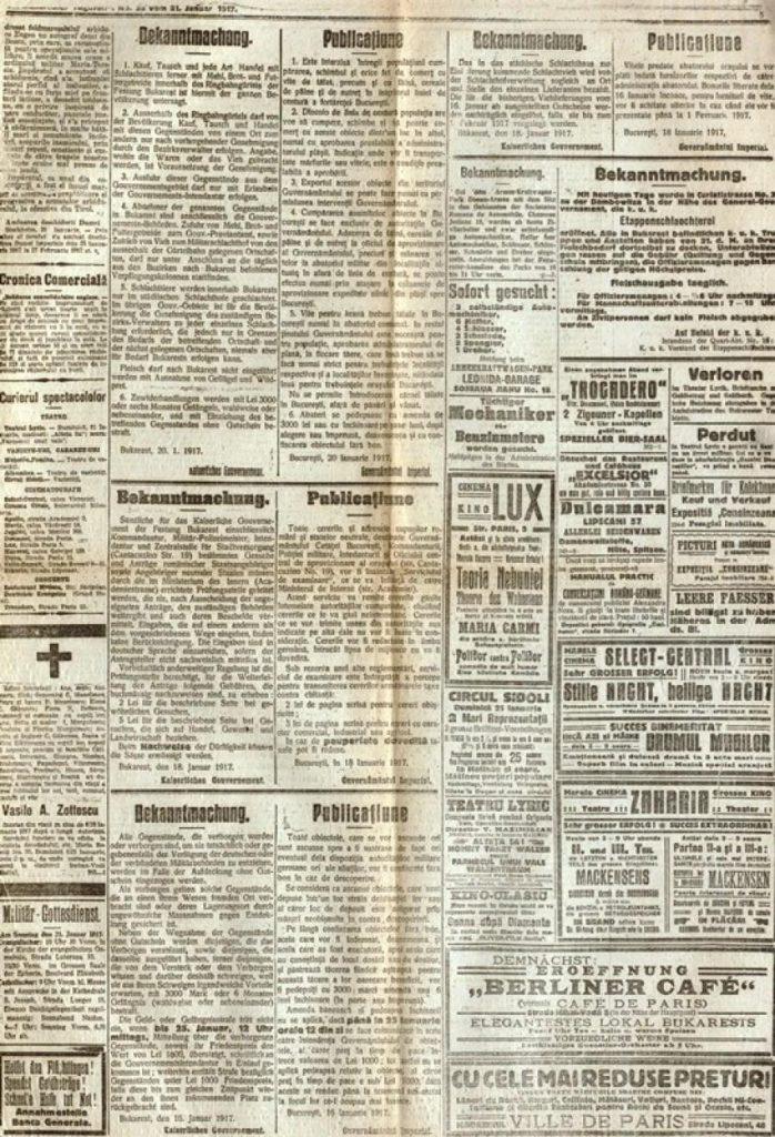 agină din Bukarester Tagblatt, 21 ianuarie 1917; sursa: MNIR, inv. 1476/ 12