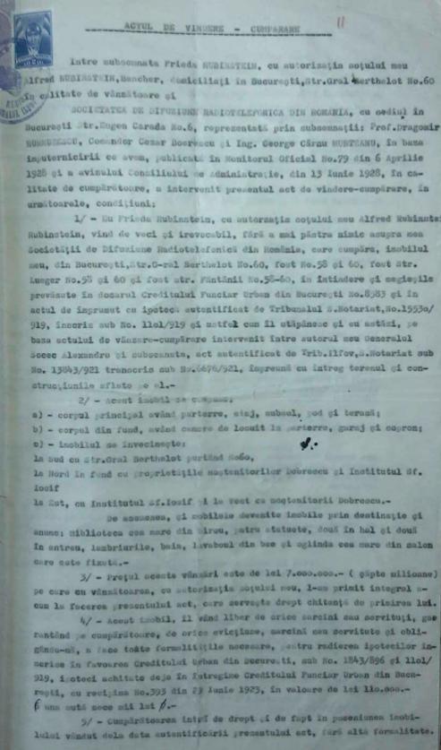 Act de vânzare – cumpărare între Frida Rubinstein şi Societatea de Difuziune Radiotelefonică, 19 iunie 1928