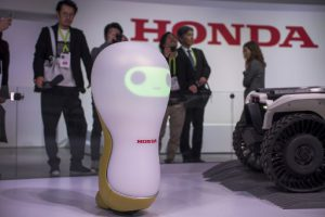 A Honda 3-C18 concept robot is shown at CES in Las Vegas, Nevada, January 9, 2018. / AFP PHOTO / DAVID MCNEW