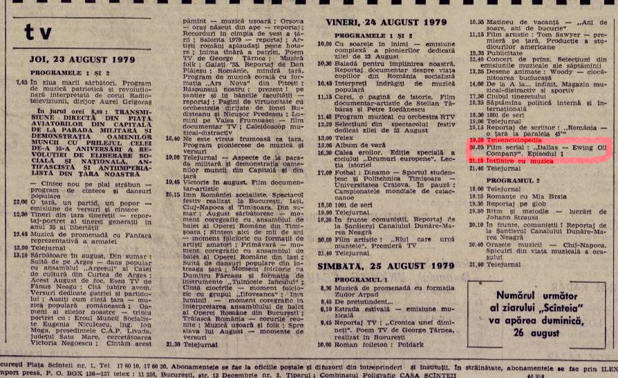 Programul TVR din 23 august 1979